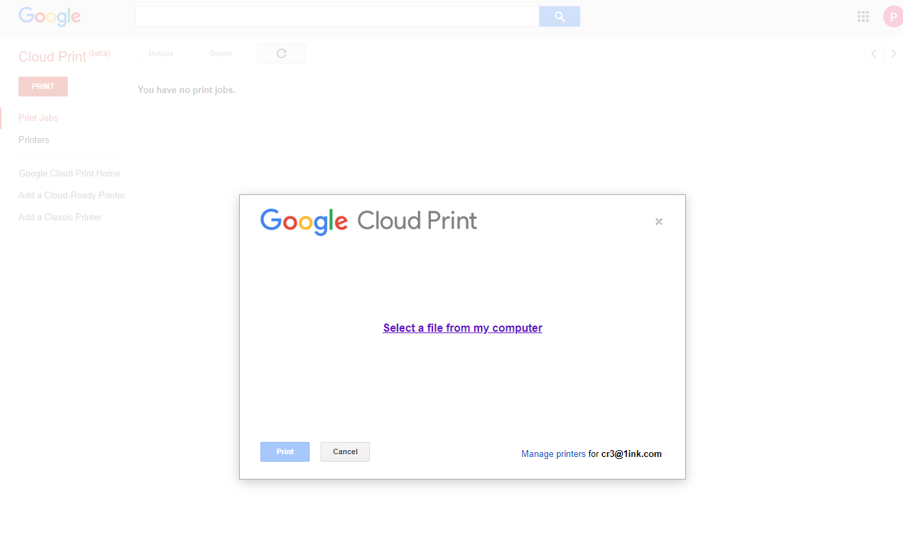 Canon printer-to-Google-Cloud-Print